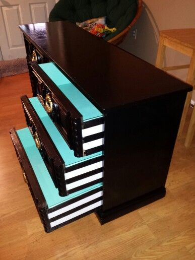 Custom Dresser: After  Black Lacquer Finish, Teal Blue Drawers And Black U0026  White Stripes On The Sides. U003d Love!