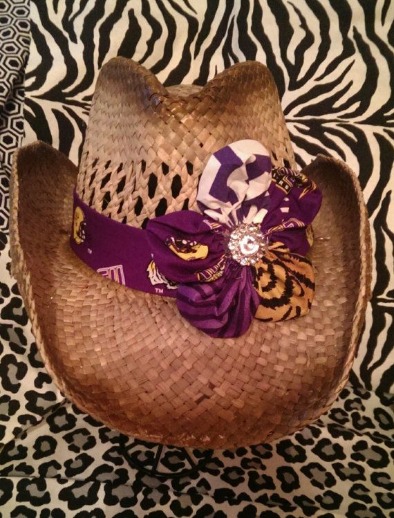 Cowboy Hat with Purple Gold LSU Band and LSU Flower with Rhinestone Center  on Etsy 690afe050249