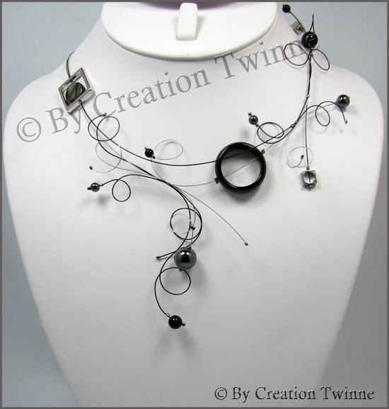Black gray statement swirls necklace funky designs jewelmother of