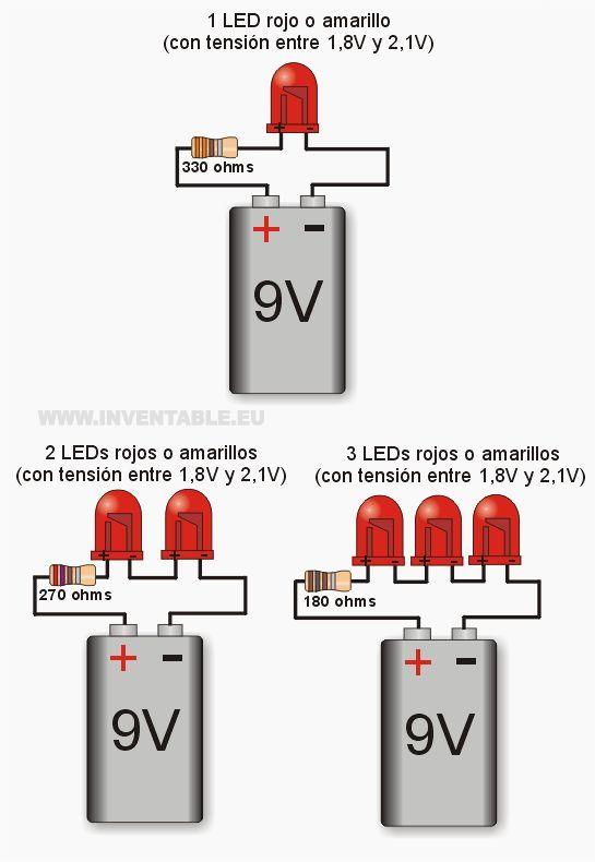 Leds a 9V por ejemplos: | 12 volt & etc. | Electronics projects, Diy  V Led Wiring Schematics on led resistor wiring, 9v battery wiring, 12v led wiring, led running lights wiring, led battery switch wiring, 24v led wiring, 19v led wiring, led potentiometer wiring, h4 led wiring,