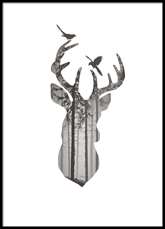 Graphic Deer silhouette, poster