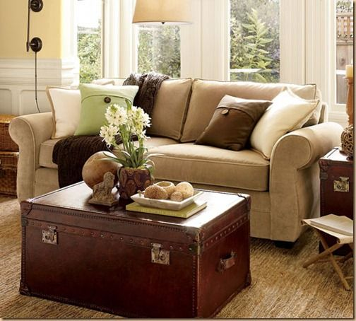 Decorating with green and brown cool and hip trunk for Hip living room ideas