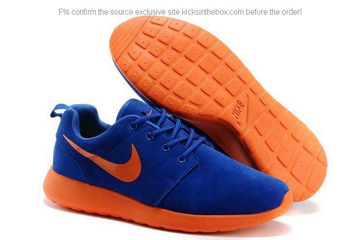 sports shoes fc275 3d796 Nike Roshe Run Anti-fur Womens Shoes in Dim Blue Orange