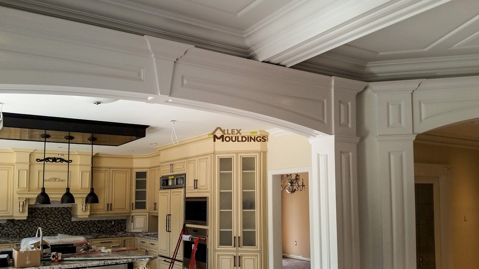 Cased Door Opening Raised Panel Design Millwork Archways - Cornice crown moulding toronto wainscoting coffered ceiling