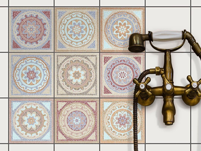 Autocollant muraux pour carreaux de ciment rev tement mural pour carrelage salle de bain et - Revetements muraux salle de bain ...