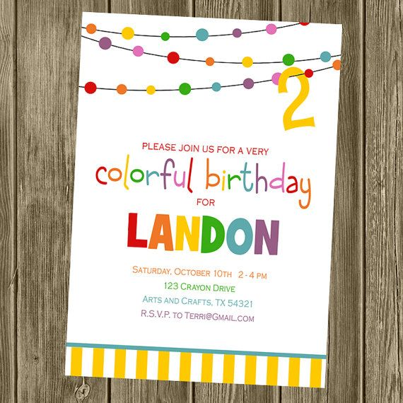 rainbow colorful art birthday party invitation party ideas