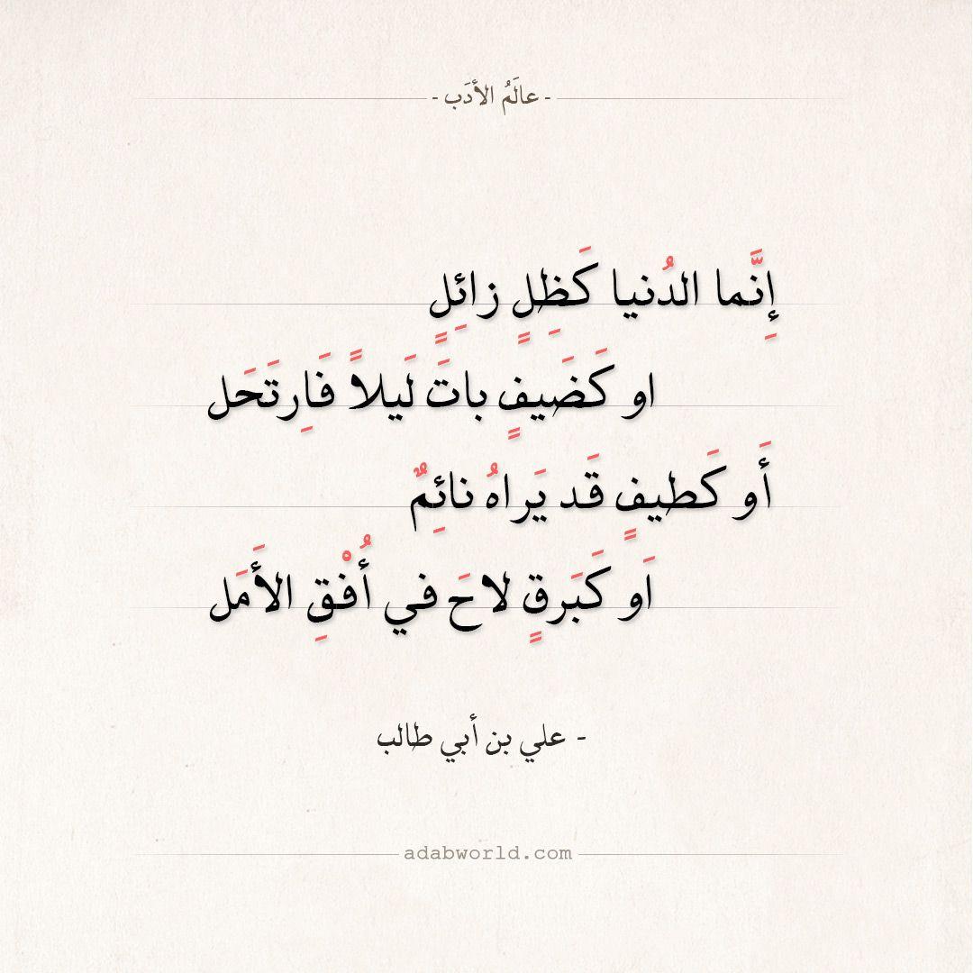 شعر علي بن أبي طالب إنما الدنيا كظل زائل عالم الأدب Weather Quotes Wisdom Quotes Life Pretty Quotes