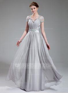 Corte A / Princesa Escote en V Hasta el suelo Charmeuse Chifon Encaje Vestido de noche con Volantes Bordado (017019722) - JJsHouse