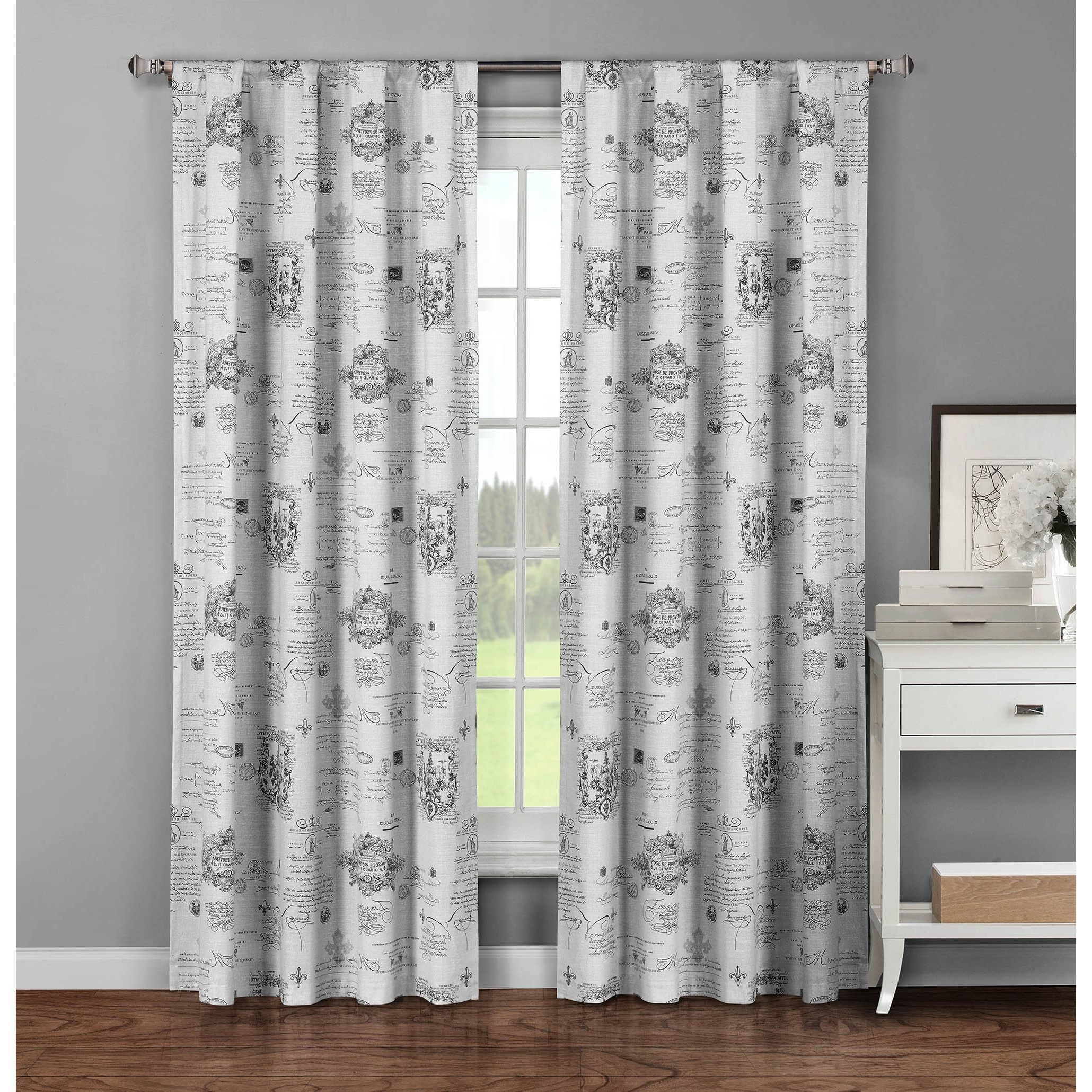 Window Elements Fleur De Lis Grey Cotton 96 Inch Rod Pocket Curtain