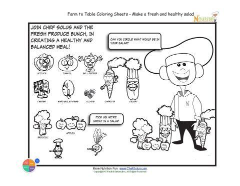 Fun farm grown vegetables- fresh produce activity, healthy foods - fresh coloring pages for may