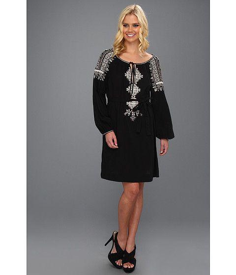 BCBGMAXAZRIA Amber Embroidered Peasant Dress