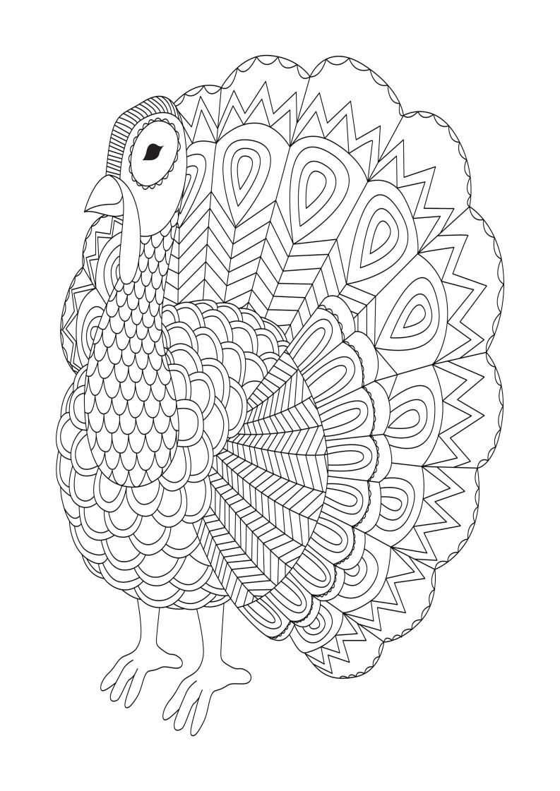 Zentangle Turkey Coloring Page on a budget