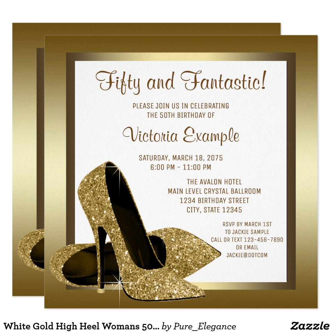 White Gold High Heel Womans 50th Birthday Party Invitation ...