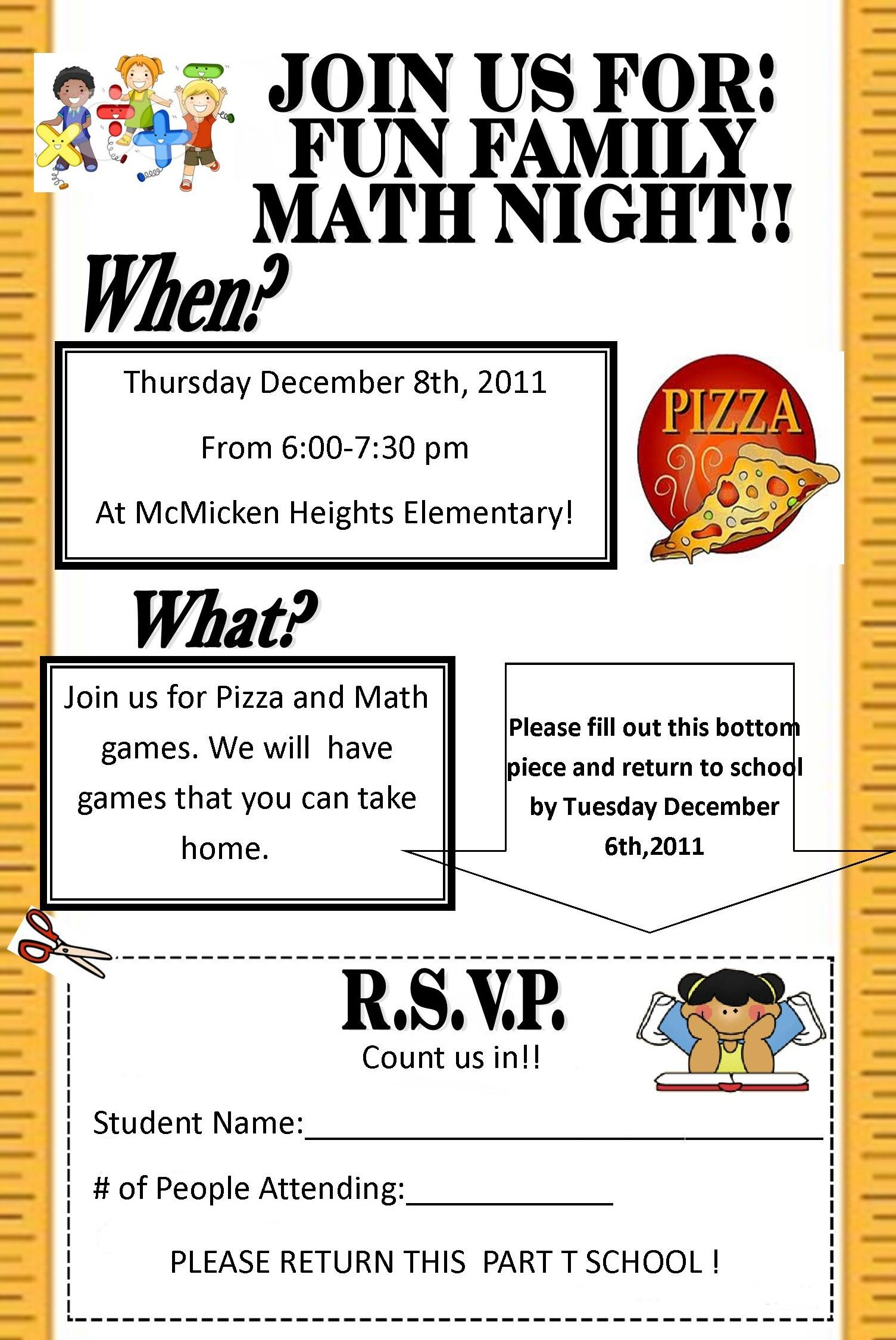 Flyer For Family Math Night