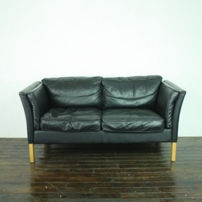 Vintage Mogensen Style 2 Seater Black Leather Sofa