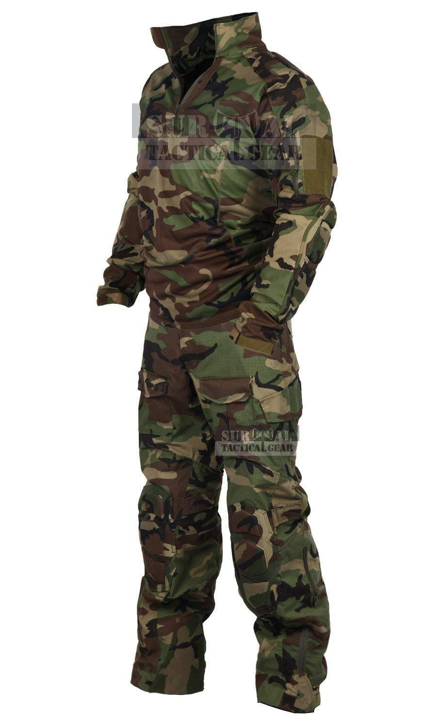 a00cc568fd69e3 Amazon.com : ZAPT Tactical Military Uniform Paintball Airsoft Hunting Army  Camo Apparel Shirt and Pants with Elbow Knee Pads Combat Clothing : Sports  & ...