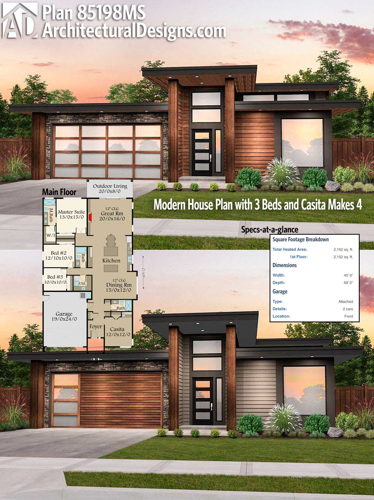 architectural designs modern house plan 85198ms 4bd3ba 2100 square feet needs a - House Plans With Attached Casita