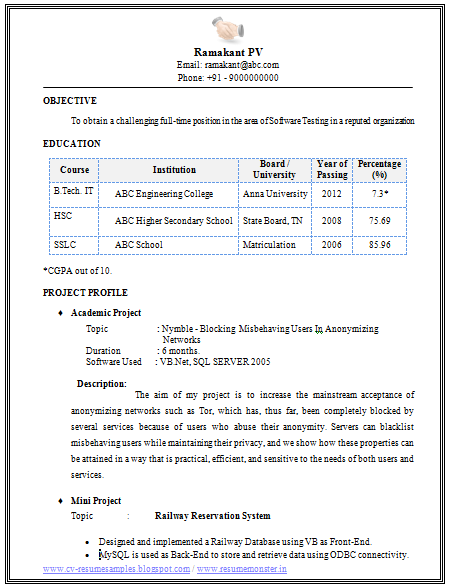 Professional Curriculum Vitae / Resume Template For All Job Seekers Sample  Template Of An Excellent B Tech Information Technology (IT) Fresher Resume  Sample ...