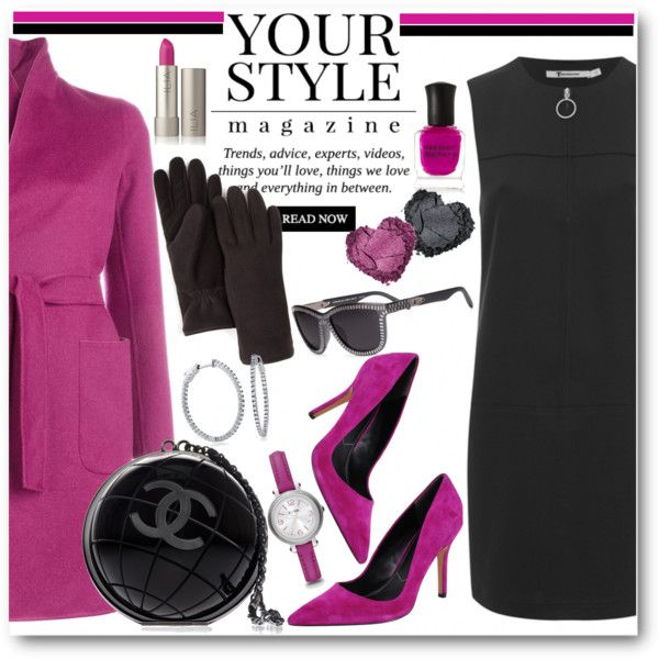 Magenta and Black by brendariley-1 on Polyvore featuring MaxMara, Pussycat, Charles by Charles David, Chanel, U|R, FOSSIL, BERRICLE, Alexander Wang, Deborah Lippmann and women's clothing