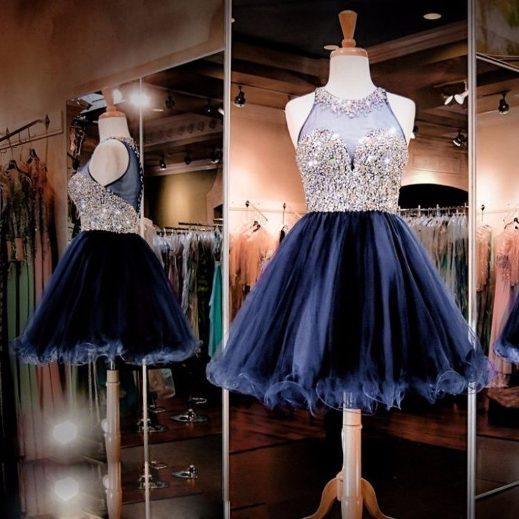 High Quality Beading Crystal Homecoming Dresses Short Prom Dress Dark Navy Tulle Knee Length Ball Gowns for Graduation 2017 Sexy