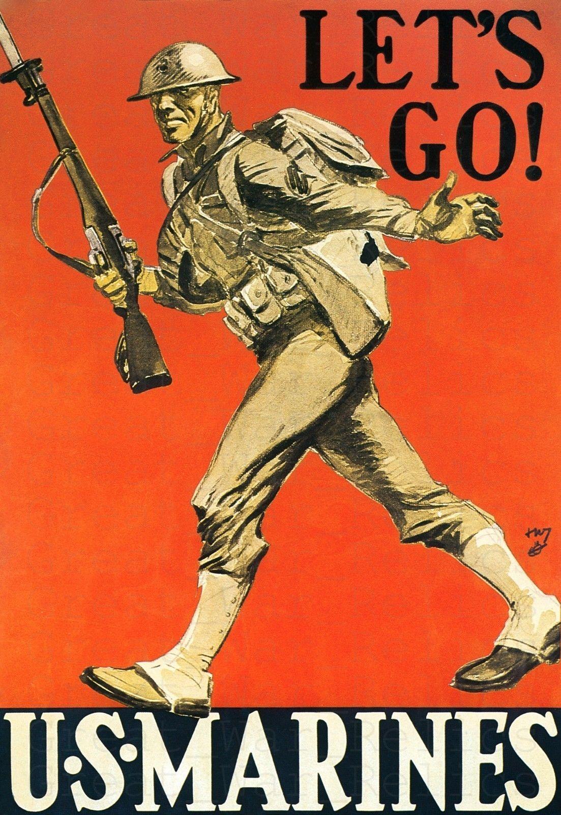 Us Marine Corps Recruiting Poster American Propaganda Vintage Reproduction Art Marine Poster Military Poster American Propaganda