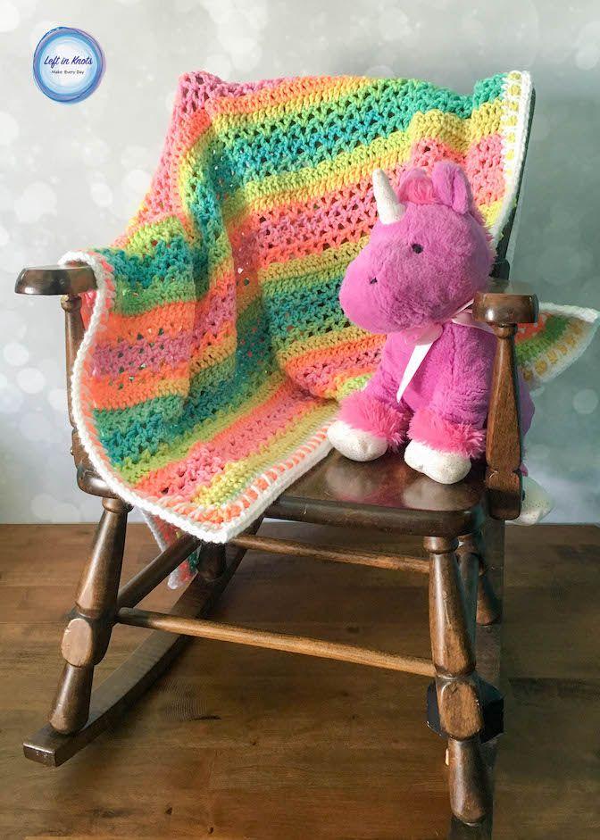 Unicorn Stripes Baby Blanket