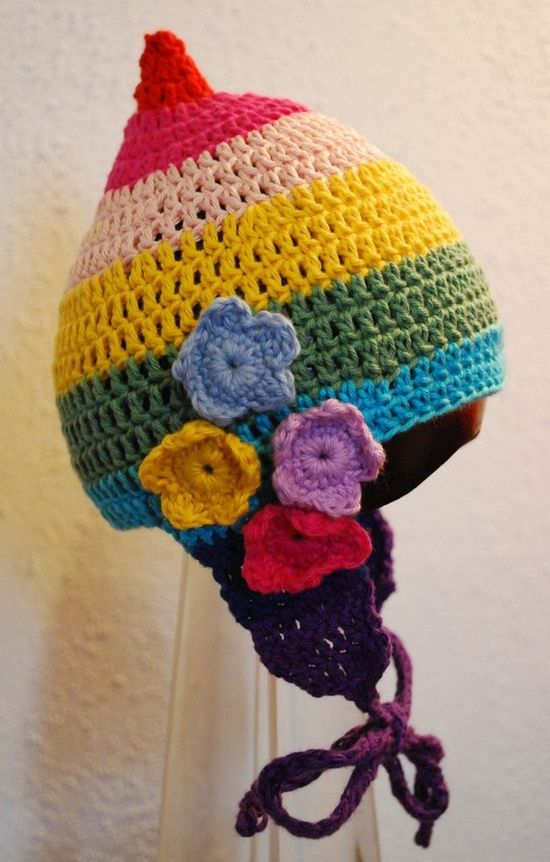 Crochet Pixie Hat, #rainbow | http://garlandberneice.blogspot.com ...