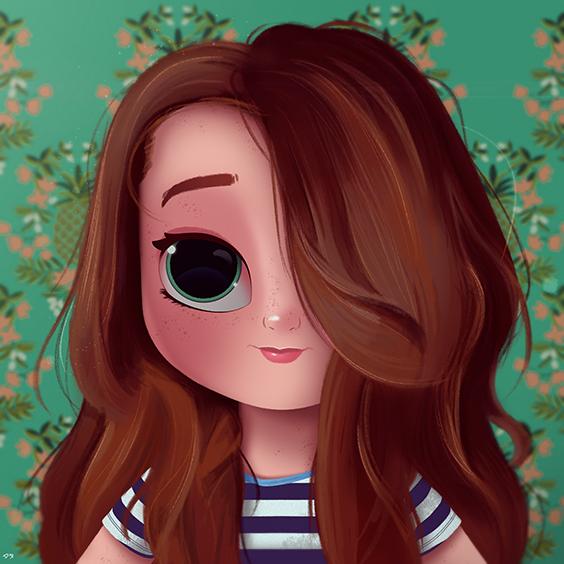 Cartoon Portrait Digital Art Digital Drawing Digital Painting Character Design Drawing Big Eyes Cute Cute Drawings Kawaii Drawings Cartoon Girl Drawing