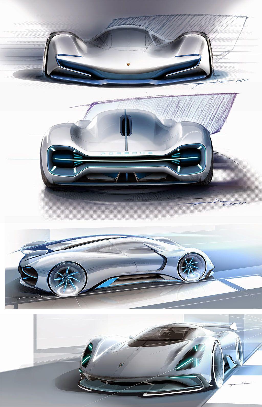Porsche electric le mans 2035 concept design sketches by - Porche diseno ...