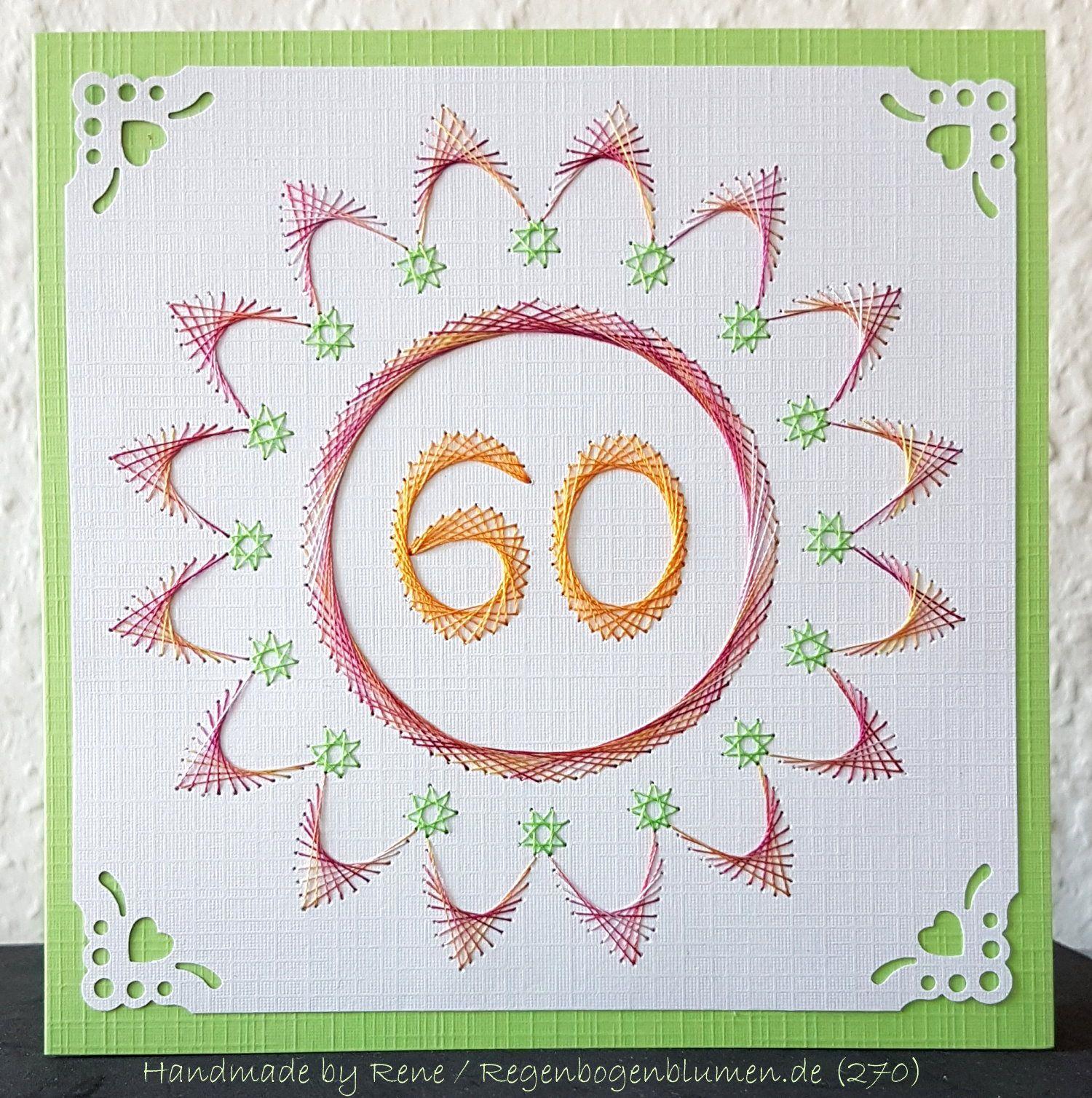 Blumen 47 als Karte zum 60. Geburtstag | Rene`s Fadengrafik / String ...