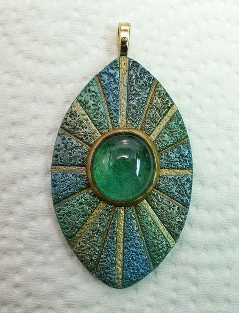Polymer clay focal bead pendant texture blue green teal glass gem gold