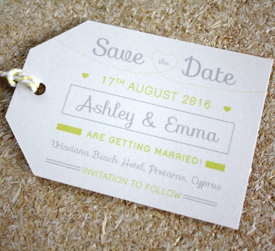 sample wording for save the date wedding cards%0A Lemon Luggage Tag Save The Date