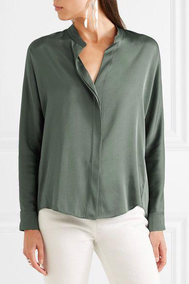 72e85bb5a7fd74 Vince - Stretch-silk Shirt - Dark green