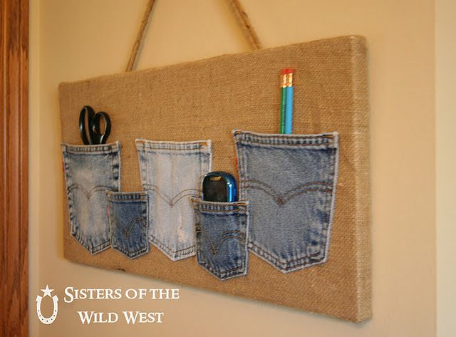 clever way to recycle old jeans!!!  I would use chalkboard paint in one section also and a tray for chalk, or half cork board!