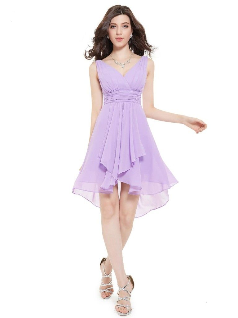 Ruffles Padded V-neck High Low Bridesmaid Dress | Dresses and Skirts ...