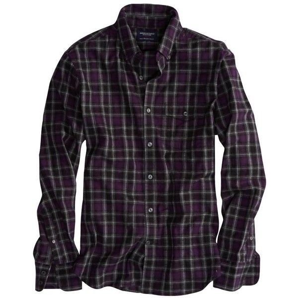 AE Epic Flannel Shirt (970 INR) ❤ liked on Polyvore featuring men's fashion, men's clothing, men's shirts, men's casual shirts, purple, mens slim fit casual shirts, mens button down collar dress shirts, mens purple shirt and mens slim fit shirts