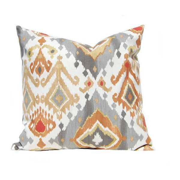 Euro Sham Throw Pillow Cover Burnt Orange Pillow Cover Gray Pillow Custom Gray And Orange Decorative Pillows