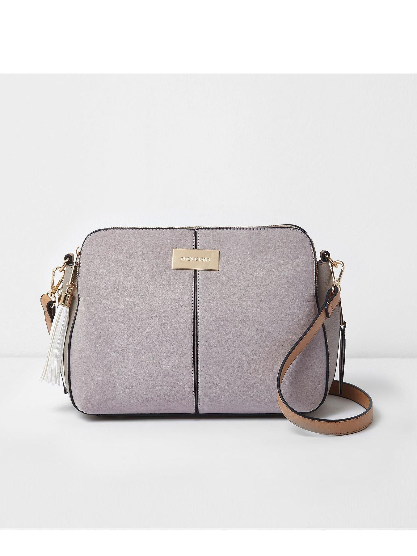 988b00256cd River Island River Island Medium Triple Compartment Cross Body Bag- Grey