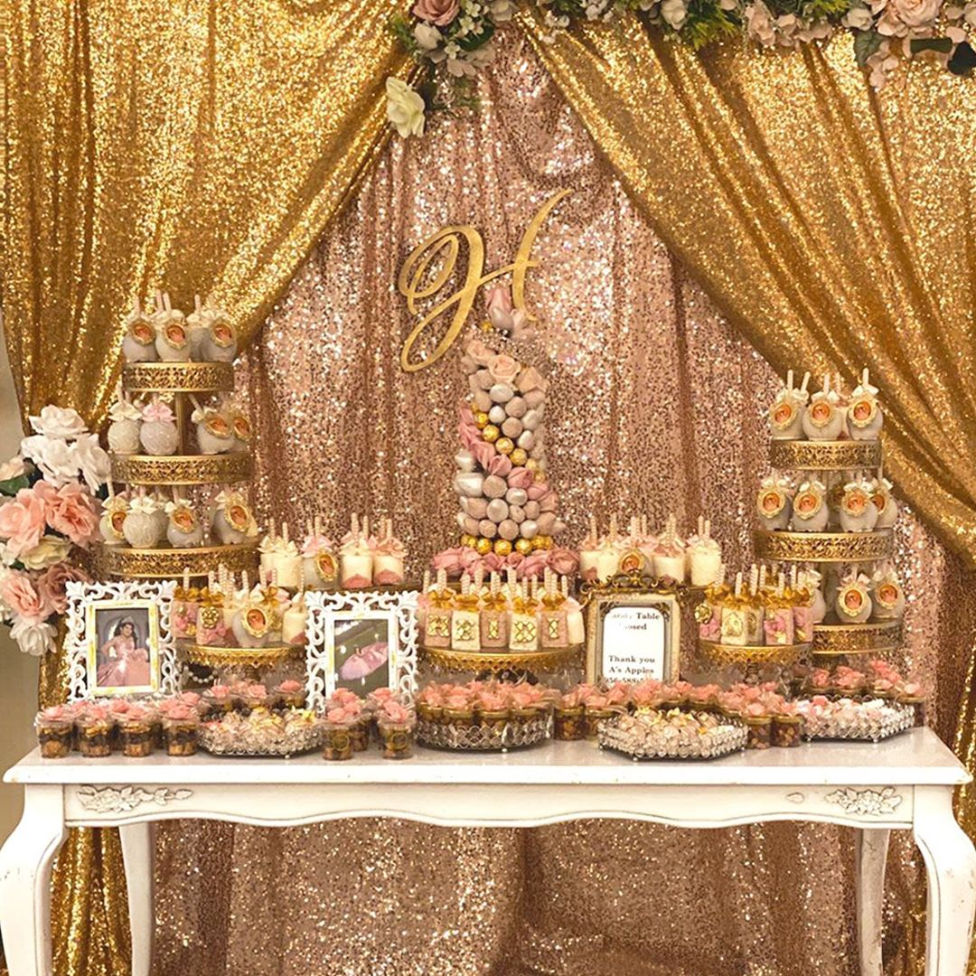 Elegant Pink And Gold Quinceanera Dessert Table Wedding Candy Table Dessert Table Birthday Gold Dessert Table
