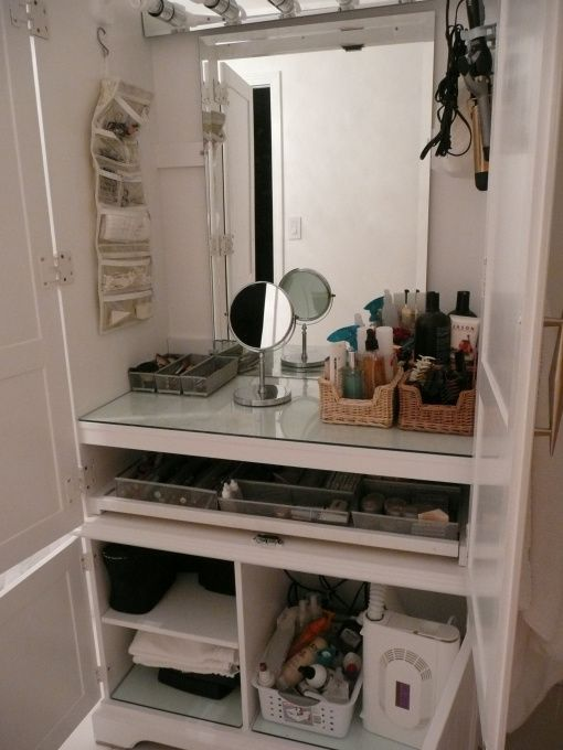 armoire converted to makeup station other space designs decorating ideas hgtv rate my space