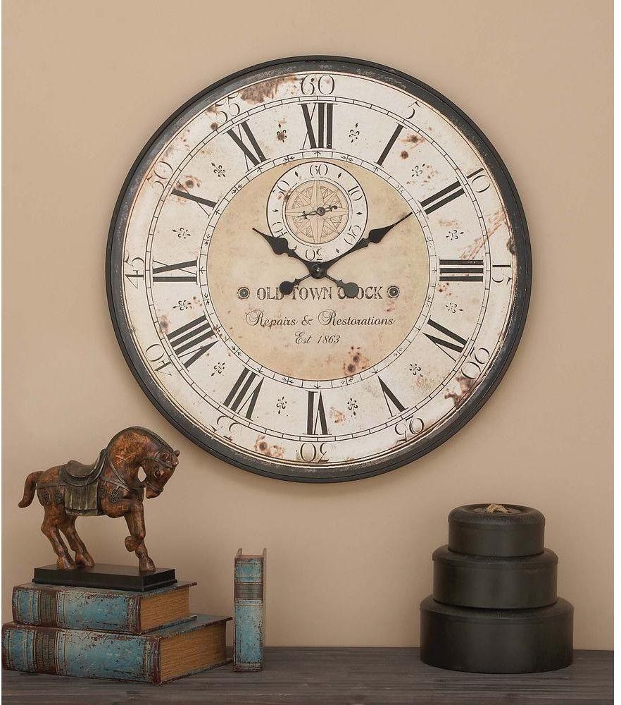 Large Wall Clock Vintage Farmhouse Roman Numeral Rustic Antique  ~ Relojes Grandes De Pared Vintage