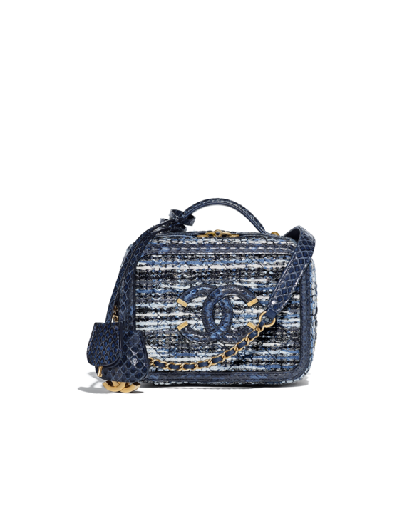 0010bcfeab74 Chanel Blue/Black/Ecru/Silver Tweed/Water Snake CC Filigree Mini Vanity  Case Bag