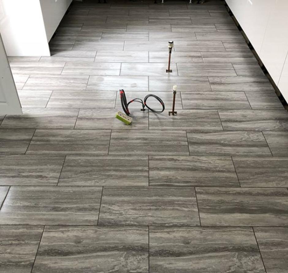 Today S Job 600x300 Matt Porcelain Grey Floor Tiles Brick Bond