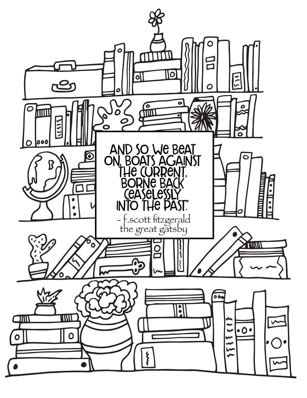 Bookshelf Great Gatsby Quote Free Bookshelf Coloring Page In