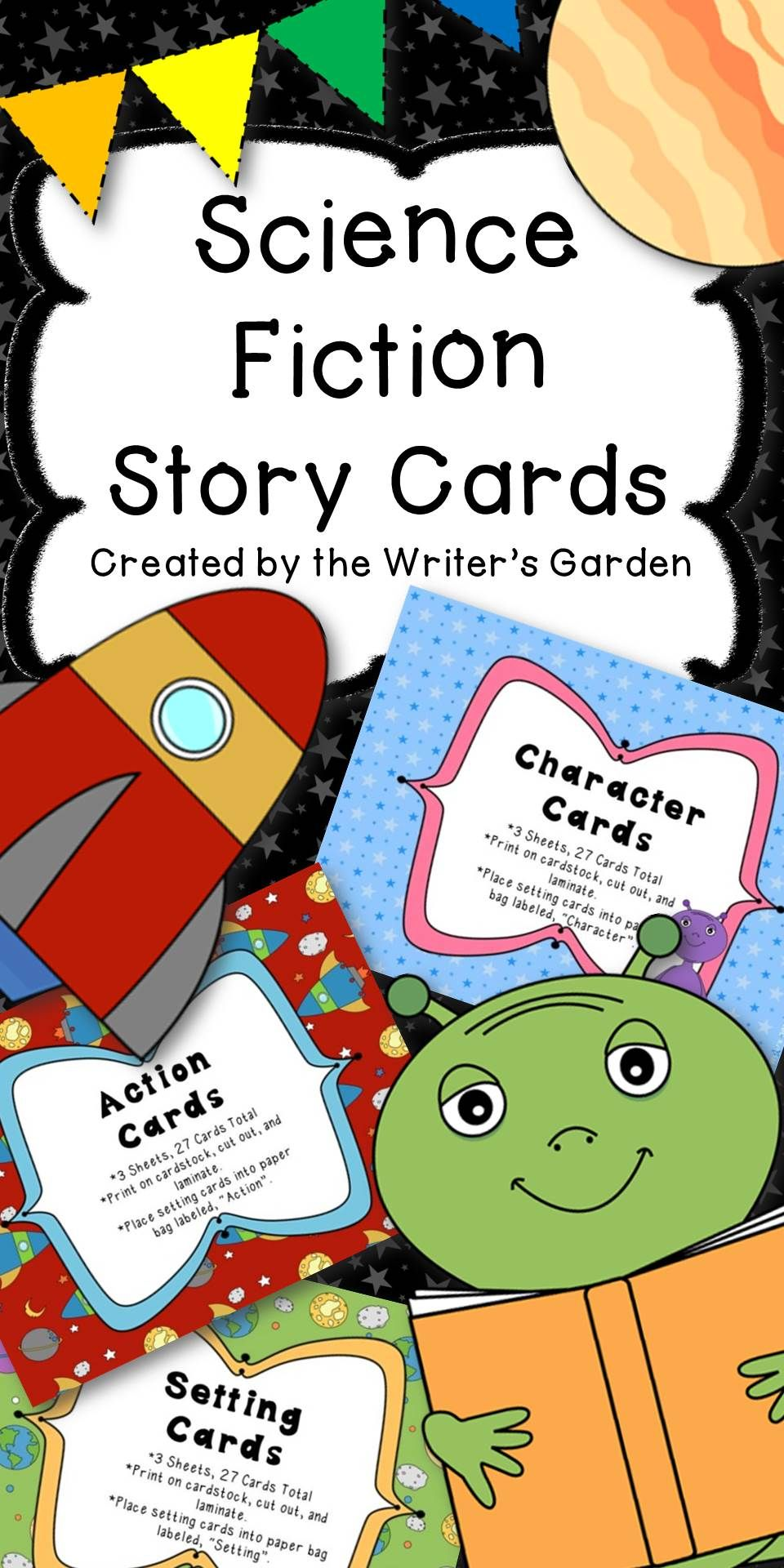 set of 81 setting character and action cards great for creative writing and drama activities students can mix and match cards to write their own science  [ 960 x 1920 Pixel ]
