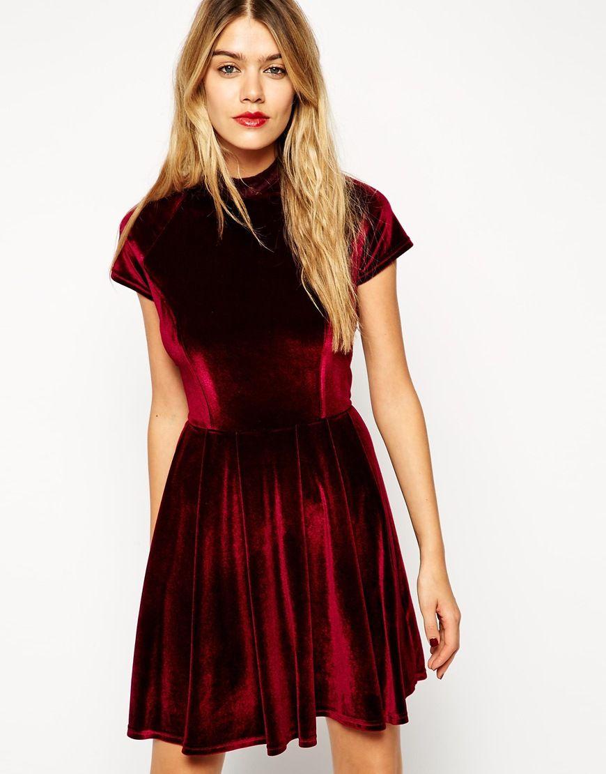 Asos Asos Velvet Skater Dress With Lace Panel Detail At Asos Kleid Spitze Rotes Samtkleid Samtkleid