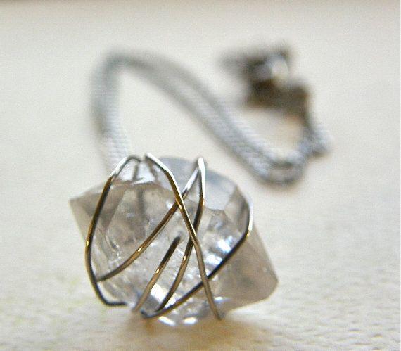 Herkimer Diamond Shaped Quartz Necklace, Rough Cut Quartz Necklace, Modern Stone Pendant Necklace