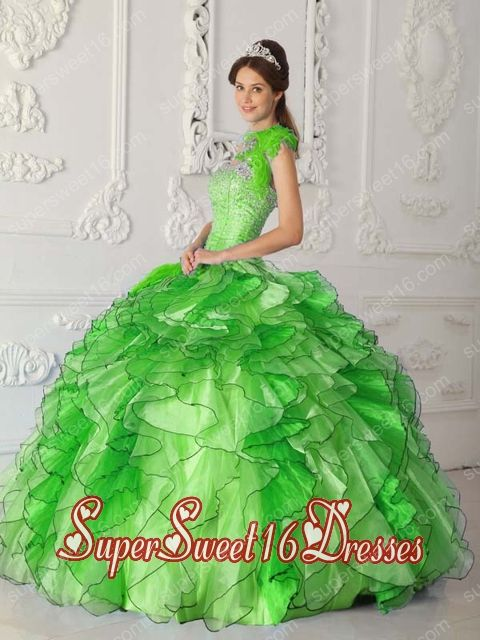 Spring Green Ball Gown Strapless Ruffled Layers Satin and Organza Beading Perfect Sweet 16 Dress