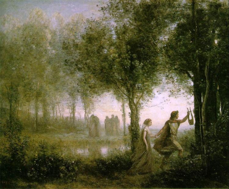 Corot, Jean-Baptiste-Camille Orpheus Leading Eurydice from the Underworld 1861.