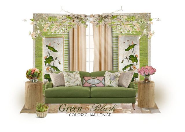 """""""Green & Blush"""" by craftygeminicreation ❤ liked on Polyvore featuring interior, interiors, interior design, home, home decor, interior decorating, Bradburn Gallery, Eclipse, Robin Bruce and Canopy Designs"""